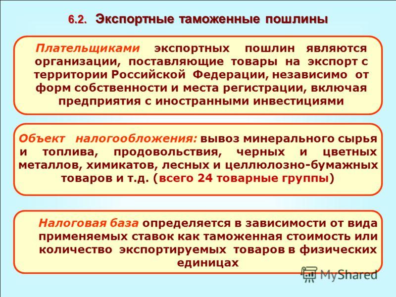 6.2. Экспортные таможенные пошлины Плательщиками экспортных пошлин являются организации, поставляющие товары на экспорт с территории Российской Федерации, независимо от форм собственности и места регистрации, включая предприятия с иностранными инвест