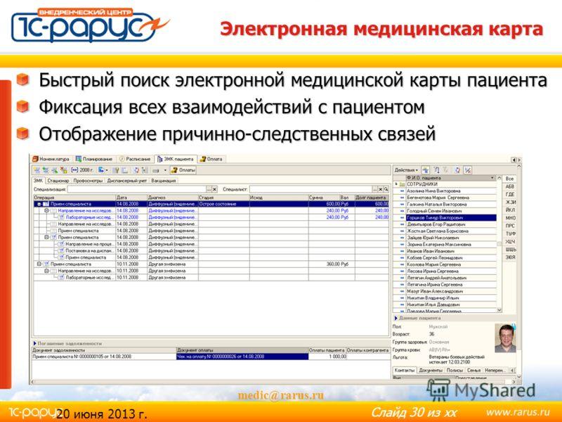 Слайд 29 из хх medic@rarus.ru График работы медицинского персонала Назначение графика работы специалистов Для всей организации На подразделение Персональный Планирование рабочего времени персонала