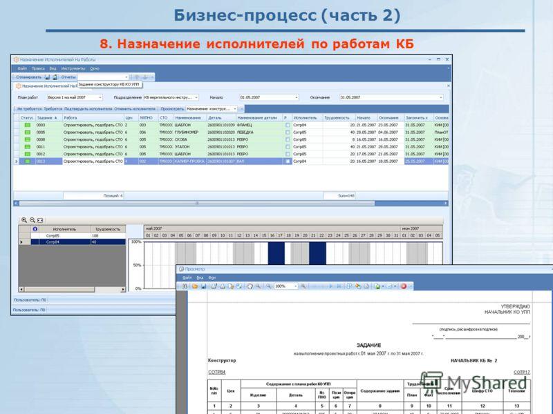 Бизнес-процесс (часть 2) 8. Назначение исполнителей по работам КБ