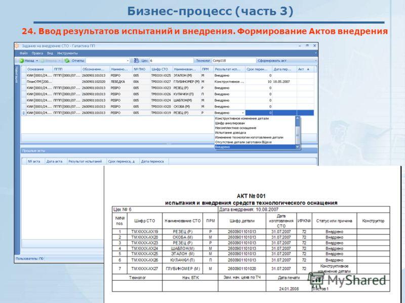 Бизнес-процесс (часть 3) 24. Ввод результатов испытаний и внедрения. Формирование Актов внедрения