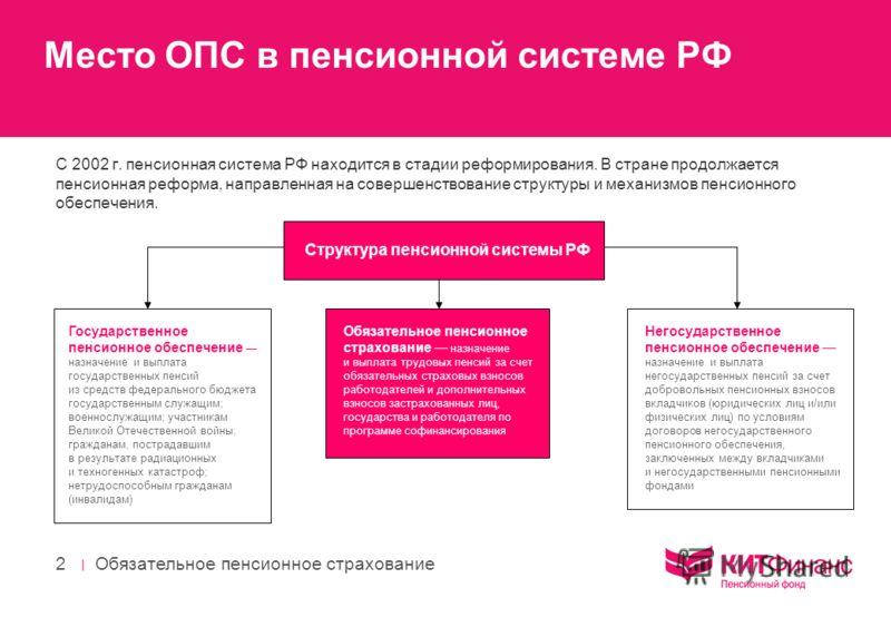 | Обязательное пенсионное страхование 2 Место ОПС в пенсионной системе РФ С 2002 г. пенсионная система РФ находится в стадии реформирования. В стране продолжается пенсионная реформа, направленная на совершенствование структуры и механизмов пенсионног