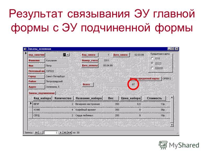 Результат связывания ЭУ главной формы с ЭУ подчиненной формы