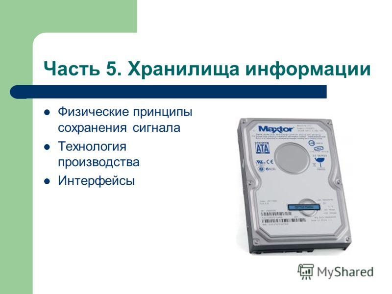 Часть 5. Хранилища информации Физические принципы сохранения сигнала Технология производства Интерфейсы