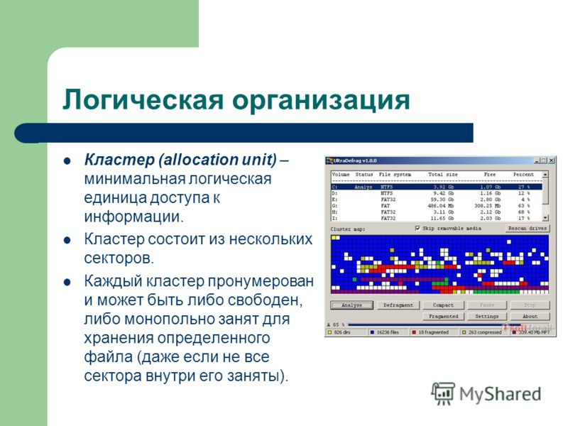 Логическая организация Кластер (allocation unit) – минимальная логическая единица доступа к информации. Кластер состоит из нескольких секторов. Каждый кластер пронумерован и может быть либо свободен, либо монопольно занят для хранения определенного ф