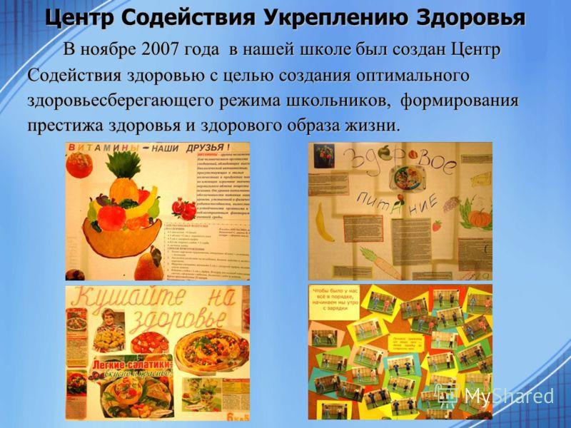 В ноябре 2007 года в нашей школе был создан Центр Содействия здоровью с целью создания оптимального здоровьесберегающего режима школьников, формирования престижа здоровья и здорового образа жизни. Центр Содействия Укреплению Здоровья