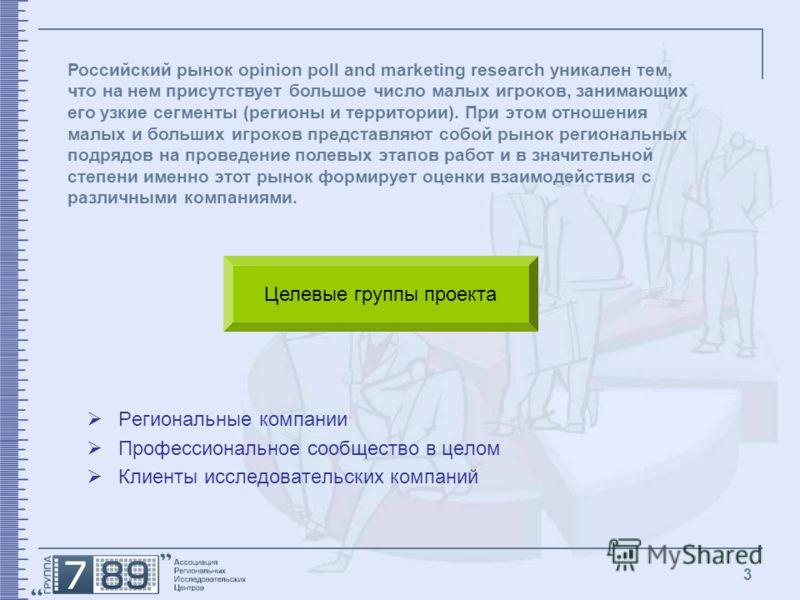 3 Региональные компании Профессиональное сообщество в целом Клиенты исследовательских компаний Российский рынок opinion poll and marketing research уникален тем, что на нем присутствует большое число малых игроков, занимающих его узкие сегменты (реги
