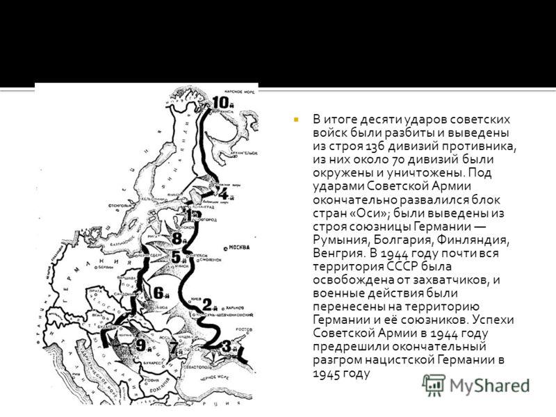 В итоге десяти ударов советских войск были разбиты и выведены из строя 136 дивизий противника, из них около 70 дивизий были окружены и уничтожены. Под ударами Советской Армии окончательно развалился блок стран «Оси»; были выведены из строя союзницы Г