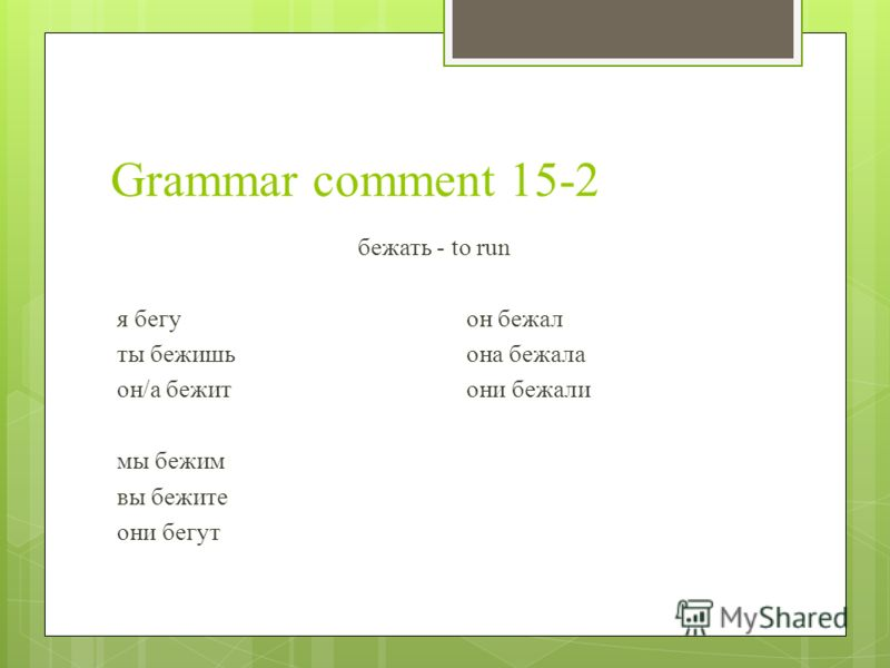 Grammar comment 15-2 бежать - to run я бегуон бежал ты бежишьона бежала он/а бежитони бежали мы бежим вы бежите они бегут