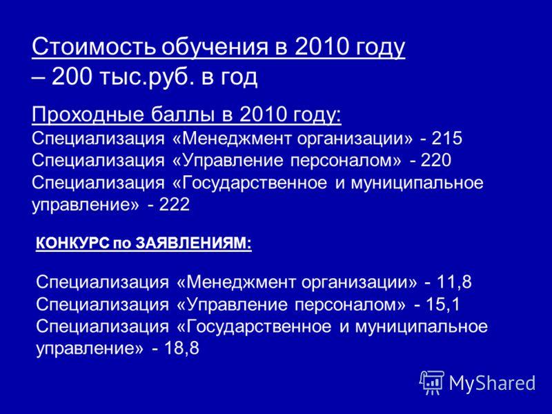 Стоимость обучения в 2010 году – 200 тыс.руб. в год Проходные баллы в 2010 году: Специализация «Менеджмент организации» - 215 Специализация «Управление персоналом» - 220 Специализация «Государственное и муниципальное управление» - 222 КОНКУРС по ЗАЯВ