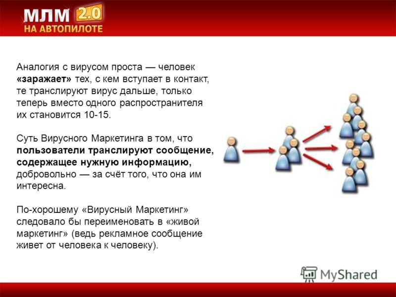 Аналогия с вирусом проста человек «заражает» тех, с кем вступает в контакт, те транслируют вирус дальше, только теперь вместо одного распространителя их становится 10-15. Суть Вирусного Маркетинга в том, что пользователи транслируют сообщение, содерж