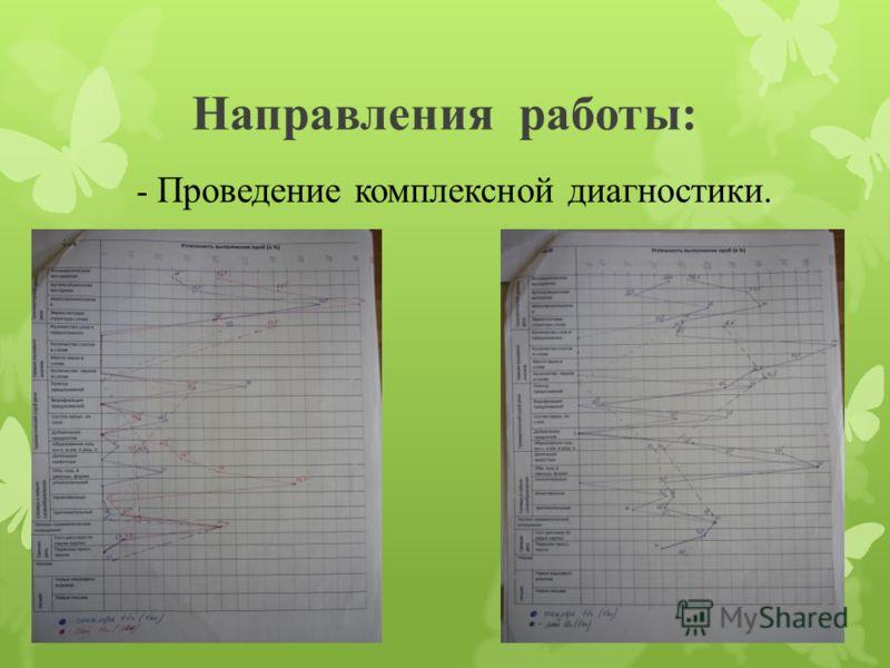 Направления работы: - Проведение комплексной диагностики.