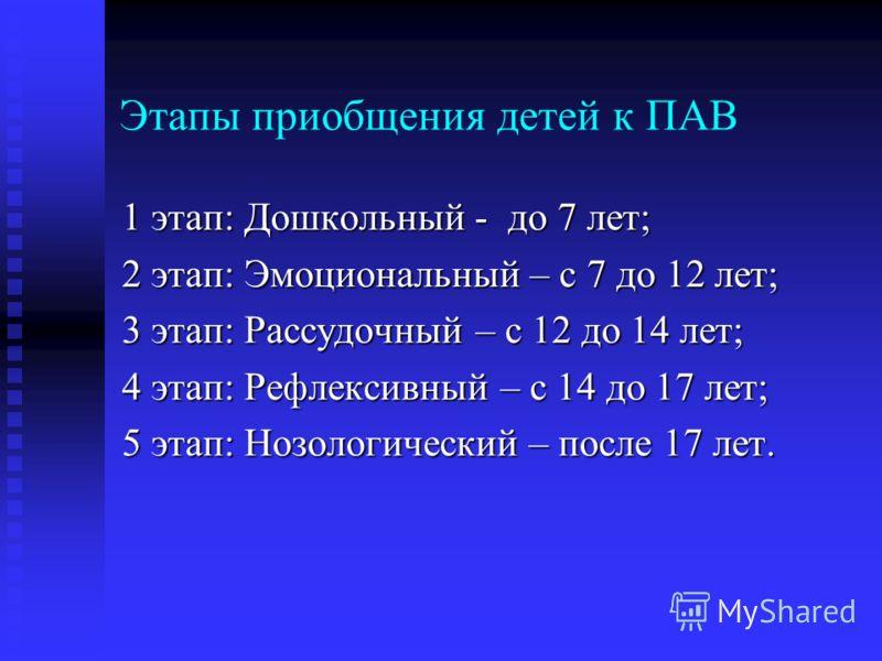 Этапы приобщения детей к ПАВ 1 этап: Дошкольный - до 7 лет; 2 этап: Эмоциональный – с 7 до 12 лет; 3 этап: Рассудочный – с 12 до 14 лет; 4 этап: Рефлексивный – с 14 до 17 лет; 5 этап: Нозологический – после 17 лет.
