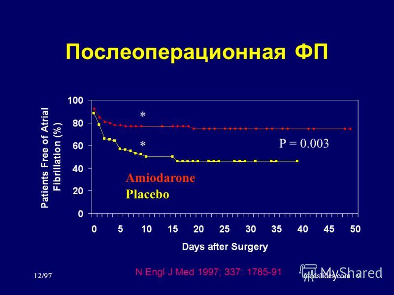 12/97medslides.com9 Послеоперационная ФП Amiodarone Placebo P = 0.003 N Engl J Med 1997; 337: 1785-91 * *