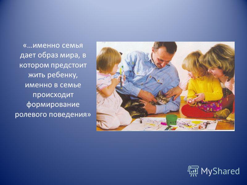 «…именно семья дает образ мира, в котором предстоит жить ребенку, именно в семье происходит формирование ролевого поведения»