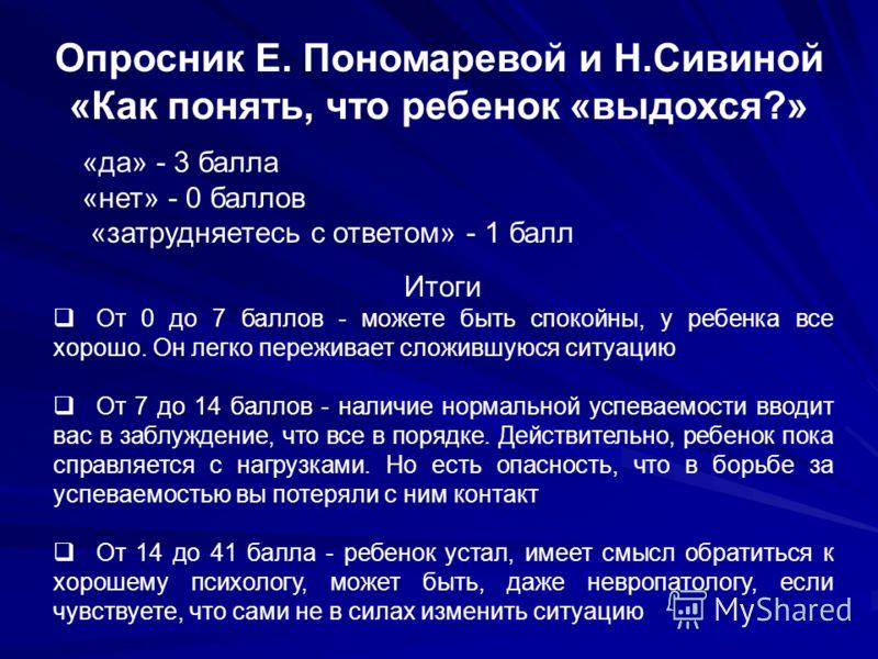 Опросник Е. Пономаревой и Н.Сивиной «Как понять, что ребенок «выдохся?» «да» - 3 балла «нет» - 0 баллов «затрудняетесь с ответом» - 1 балл Итоги От 0 до 7 баллов - можете быть спокойны, у ребенка все хорошо. Он легко переживает сложившуюся ситуацию О