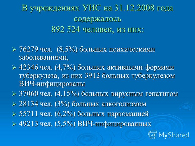 В учреждениях УИС на 31.12.2008 года содержалось 892 524 человек, из них: 76279 чел. (8,5%) больных психическими заболеваниями, 76279 чел. (8,5%) больных психическими заболеваниями, 42346 чел. (4,7%) больных активными формами туберкулеза, из них 3912