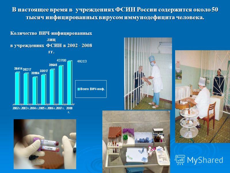 Количество ВИЧ-инфицированных лиц в учреждениях ФСИН в 2002 - 2008 гг. Количество ВИЧ-инфицированных лиц в учреждениях ФСИН в 2002 - 2008 гг. В настоящее время в учреждениях ФСИН России содержится около 50 тысяч инфицированных вирусом иммунодефицита