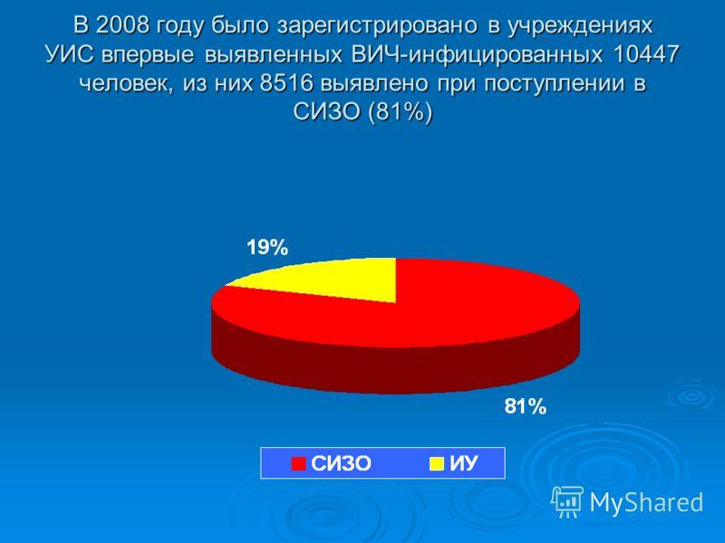 В 2008 году было зарегистрировано в учреждениях УИС впервые выявленных ВИЧ-инфицированных 10447 человек, из них 8516 выявлено при поступлении в СИЗО (81%)