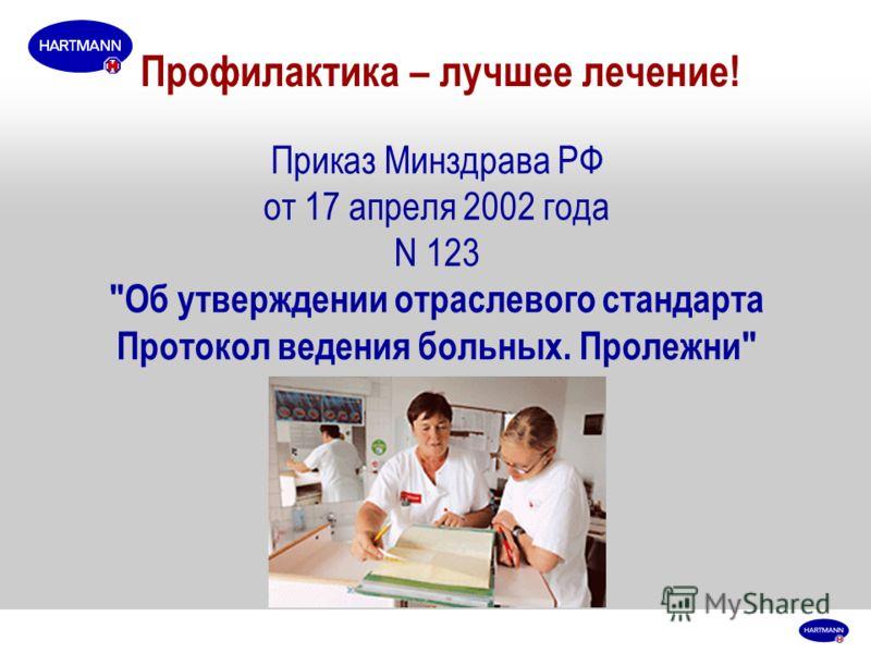 Профилактика – лучшее лечение! Приказ Минздрава РФ от 17 апреля 2002 года N 123 Об утверждении отраслевого стандарта Протокол ведения больных. Пролежни