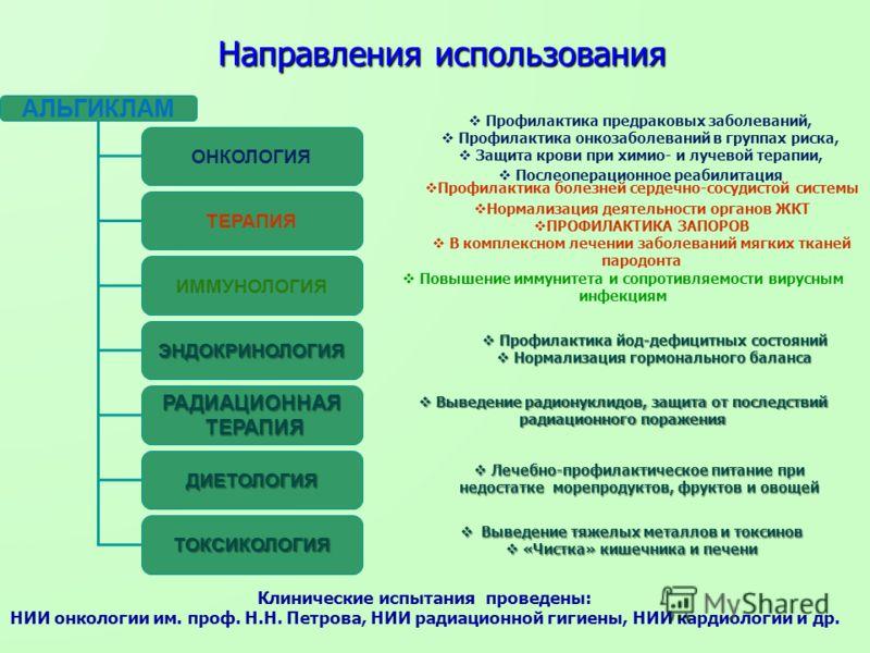 Направления использования АЛЬГИКЛАМ ОНКОЛОГИЯ ТЕРАПИЯ ИММУНОЛОГИЯ ДИЕТОЛОГИЯ РАДИАЦИОННАЯ ТЕРАПИЯ ТЕРАПИЯ ТОКСИКОЛОГИЯ ЭНДОКРИНОЛОГИЯ Профилактика предраковых заболеваний, Профилактика онкозаболеваний в группах риска, Защита крови при химио- и лучево