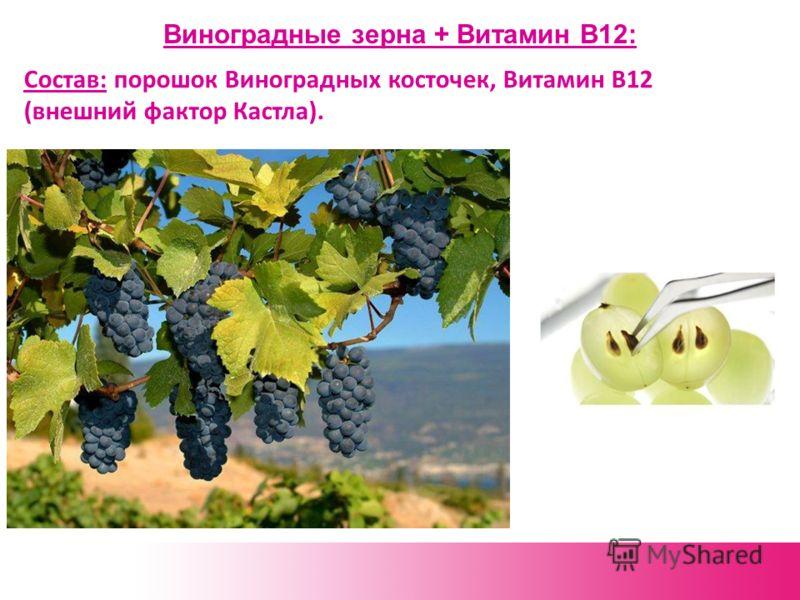 Виноградные зерна + Витамин В12: Состав: порошок Виноградных косточек, Витамин В12 (внешний фактор Кастла).
