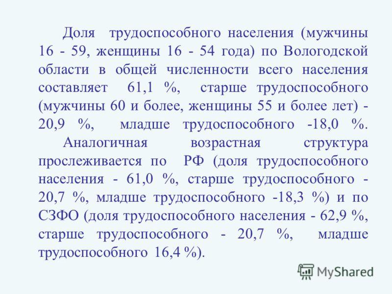 Доля трудоспособного населения (мужчины 16 - 59, женщины 16 - 54 года) по Вологодской области в общей численности всего населения составляет 61,1 %, старше трудоспособного (мужчины 60 и более, женщины 55 и более лет) - 20,9 %, младше трудоспособного