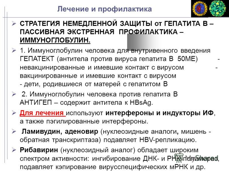 Лечение и профилактика СТРАТЕГИЯ НЕМЕДЛЕННОЙ ЗАЩИТЫ от ГЕПАТИТА В – ПАССИВНАЯ ЭКСТРЕННАЯ ПРОФИЛАКТИКА – ИММУНОГЛОБУЛИН. 1. Иммуноглобулин человека для внутривенного введения ГЕПАТЕКТ (антитела против вируса гепатита В 50МЕ) - невакцинированные и имев