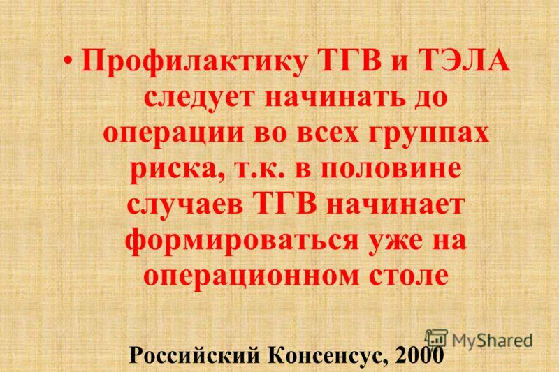 Профилактику ТГВ и ТЭЛА следует начинать до операции во всех группах риска, т.к. в половине случаев ТГВ начинает формироваться уже на операционном столе Российский Консенсус, 2000