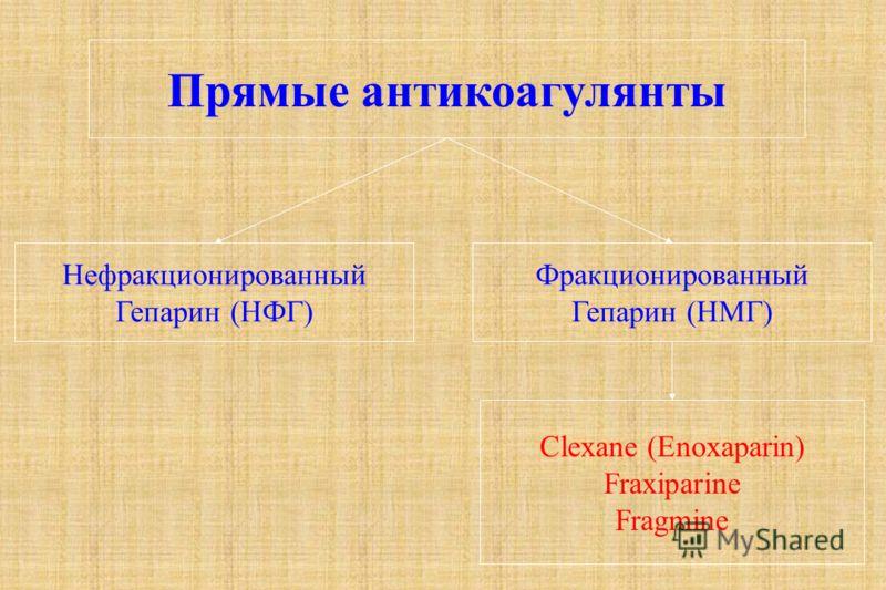 Прямые антикоагулянты Нефракционированный Гепарин (НФГ) Фракционированный Гепарин (НМГ) Clexane (Enoxaparin) Fraxiparine Fragmine