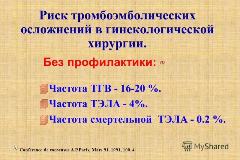 Риск тромбоэмболических осложнений в гинекологической хирургии. 4Частота ТГВ - 16-20 %. 4Частота ТЭЛА - 4%. 4Частота смертельной ТЭЛА - 0.2 %. (1) Без профилактики: (1) (1) (1) Conference de consensus A.P.Paris, Mars 91. 1991, 100, 4