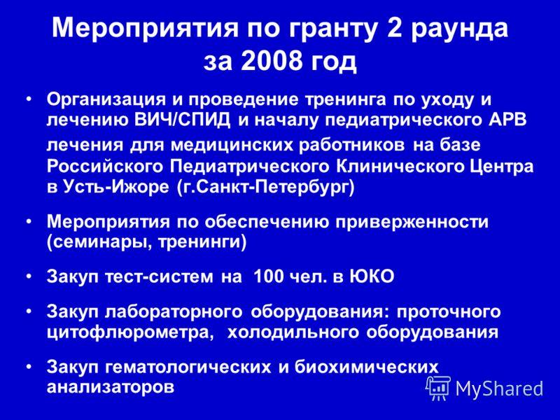 Мероприятия по гранту 2 раунда за 2008 год Организация и проведение тренинга по уходу и лечению ВИЧ/СПИД и началу педиатрического АРВ лечения для медицинских работников на базе Российского Педиатрического Клинического Центра в Усть-Ижоре (г.Санкт-Пет
