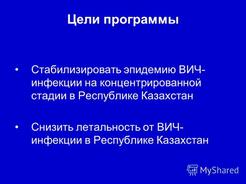 Цели программы Стабилизировать эпидемию ВИЧ- инфекции на концентрированной стадии в Республике Казахстан Снизить летальность от ВИЧ- инфекции в Республике Казахстан