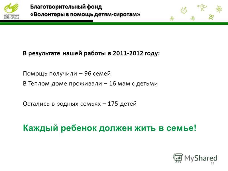 В результате нашей работы в 2011-2012 году: Помощь получили – 96 семей В Теплом доме проживали – 16 мам с детьми Остались в родных семьях – 175 детей Каждый ребенок должен жить в семье! 11
