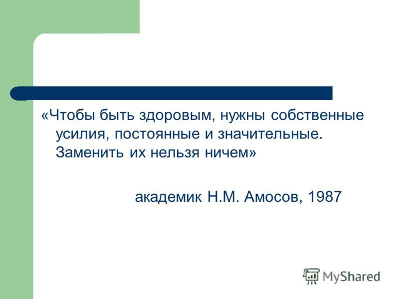 «Чтобы быть здоровым, нужны собственные усилия, постоянные и значительные. Заменить их нельзя ничем» академик Н.М. Амосов, 1987