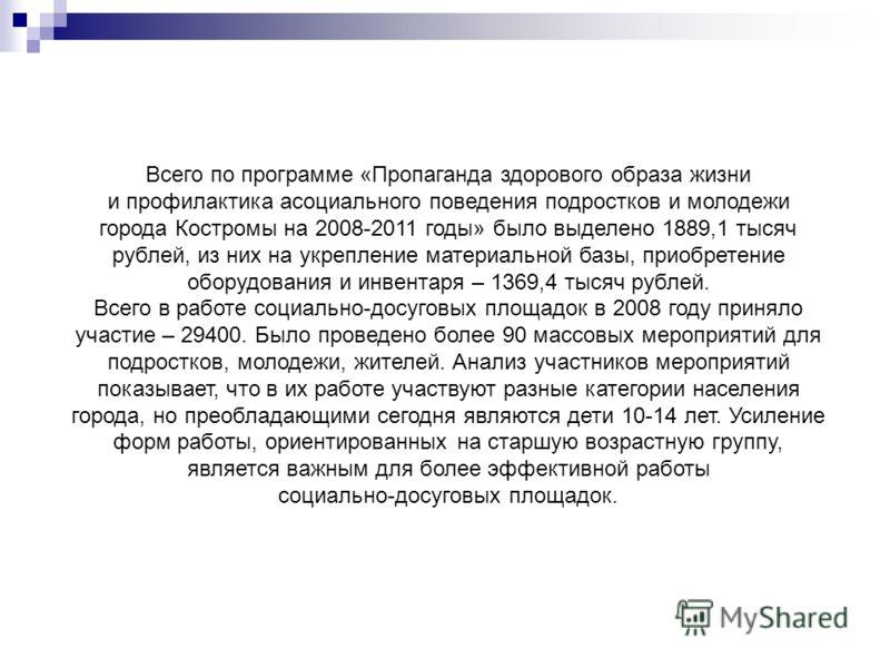 Всего по программе «Пропаганда здорового образа жизни и профилактика асоциального поведения подростков и молодежи города Костромы на 2008-2011 годы» было выделено 1889,1 тысяч рублей, из них на укрепление материальной базы, приобретение оборудования