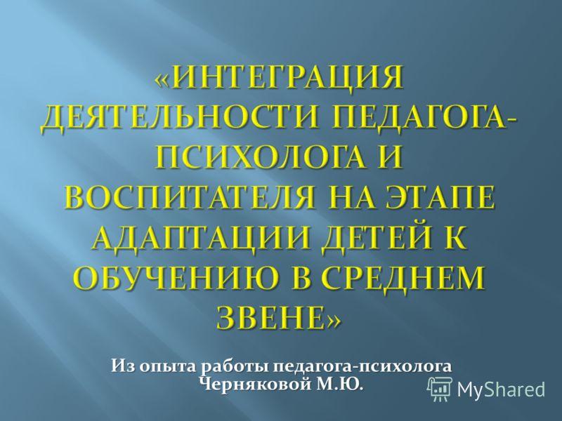 Из опыта работы педагога-психолога Черняковой М.Ю.