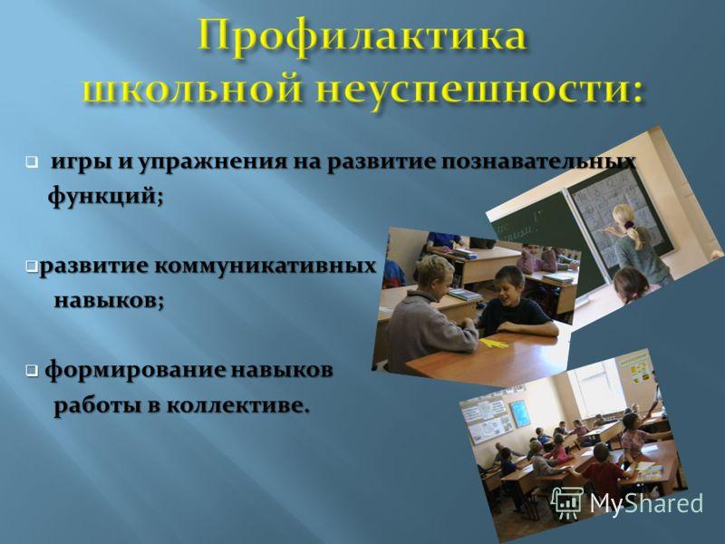 игры и упражнения на развитие познавательных игры и упражнения на развитие познавательных функций; функций; развитие коммуникативных развитие коммуникативных навыков; навыков; формирование навыков формирование навыков работы в коллективе. работы в ко