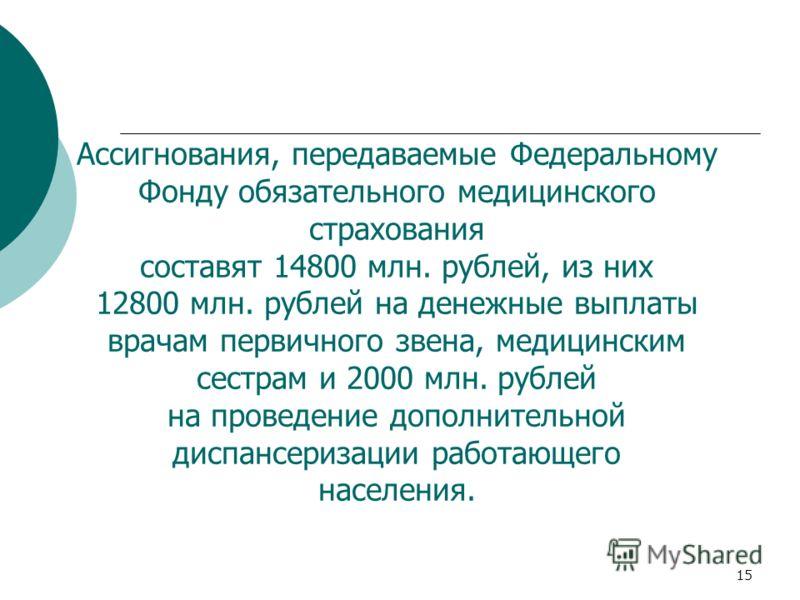 15 Ассигнования, передаваемые Федеральному Фонду обязательного медицинского страхования составят 14800 млн. рублей, из них 12800 млн. рублей на денежные выплаты врачам первичного звена, медицинским сестрам и 2000 млн. рублей на проведение дополнитель