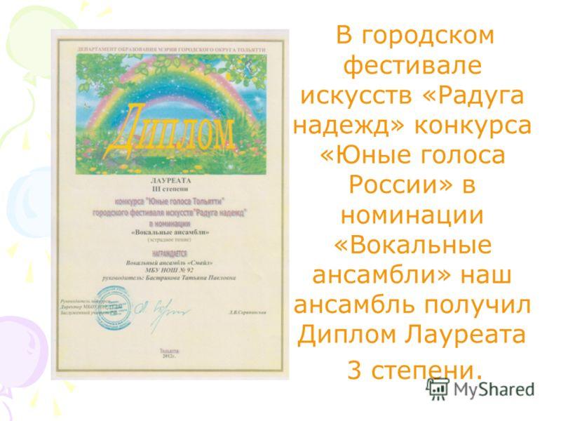 В городском фестивале искусств «Радуга надежд» конкурса «Юные голоса России» в номинации «Вокальные ансамбли» наш ансамбль получил Диплом Лауреата 3 степени.