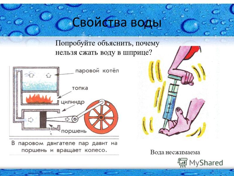 Свойства воды Вода несжимаема Попробуйте объяснить, почему нельзя сжать воду в шприце?