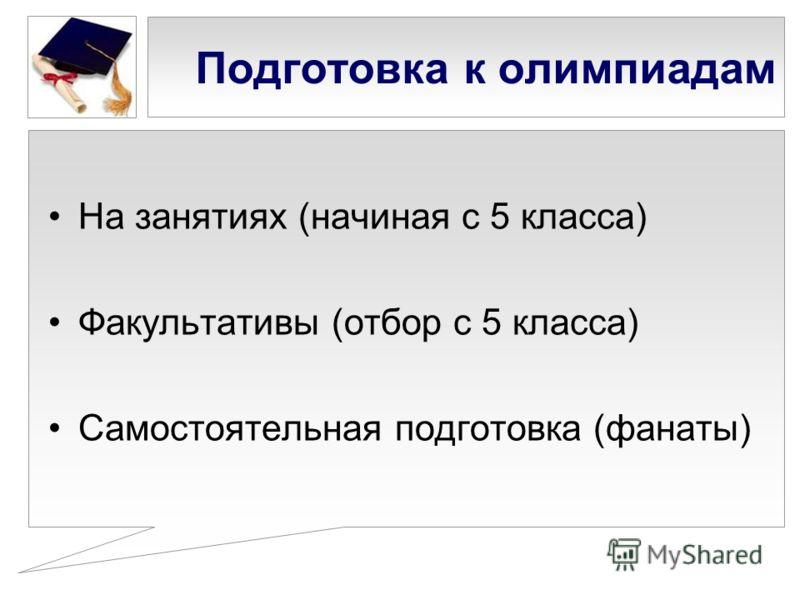 Подготовка к олимпиадам На занятиях (начиная с 5 класса) Факультативы (отбор с 5 класса) Самостоятельная подготовка (фанаты)