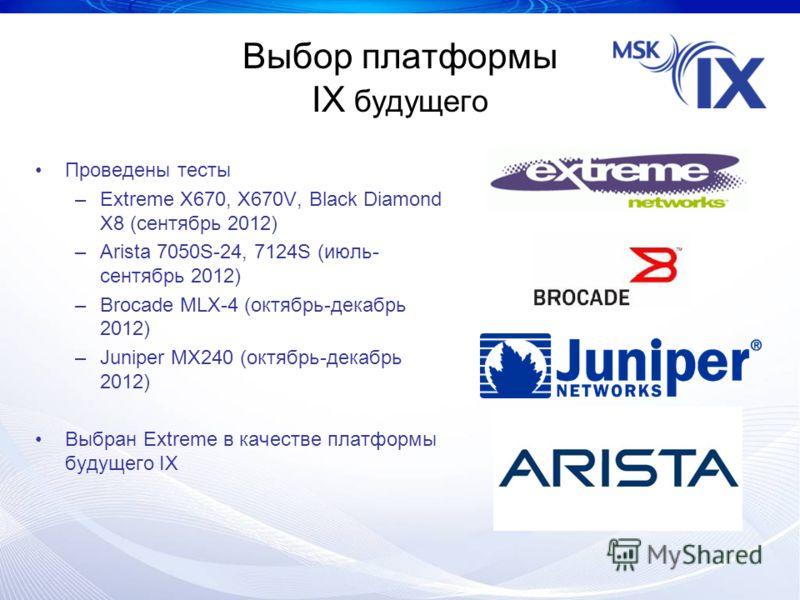 Выбор платформы IX будущего Проведены тесты –Extreme X670, X670V, Black Diamond X8 (сентябрь 2012) –Arista 7050S-24, 7124S (июль- сентябрь 2012) –Brocade MLX-4 (октябрь-декабрь 2012) –Juniper MX240 (октябрь-декабрь 2012) Выбран Extreme в качестве пла