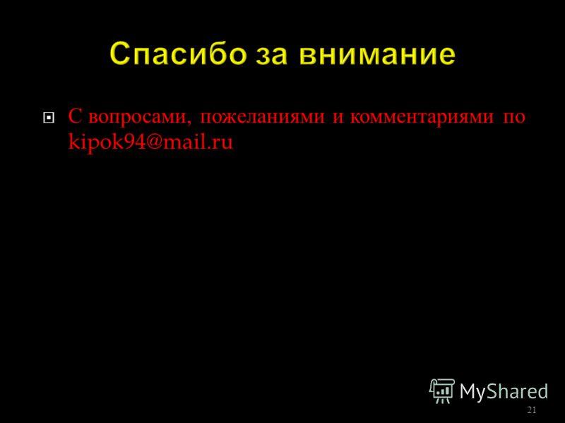 С вопросами, пожеланиями и комментариями по kipok94@mail.ru 21
