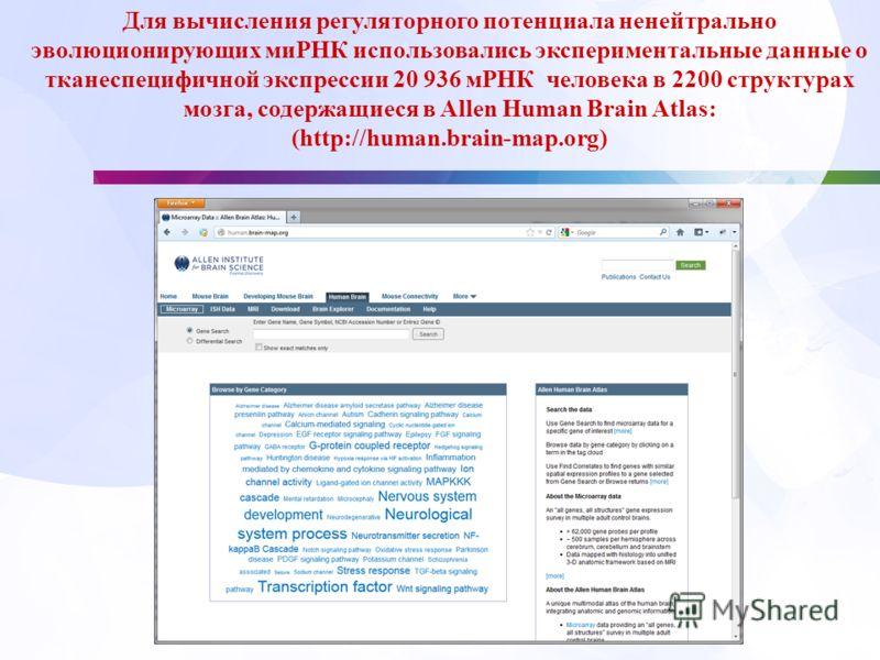 / Для вычисления регуляторного потенциала ненейтрально эволюционирующих миРНК использовались экспериментальные данные о тканеспецифичной экспрессии 20 936 мРНК человека в 2200 структурах мозга, содержащиеся в Allen Human Brain Atlas: (http://human.br