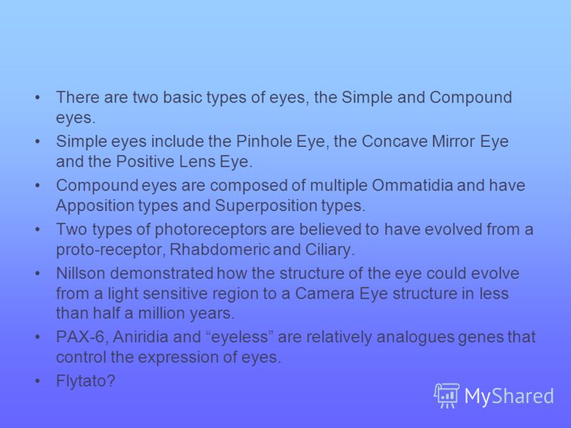 There are two basic types of eyes, the Simple and Compound eyes. Simple eyes include the Pinhole Eye, the Concave Mirror Eye and the Positive Lens Eye. Compound eyes are composed of multiple Ommatidia and have Apposition types and Superposition types