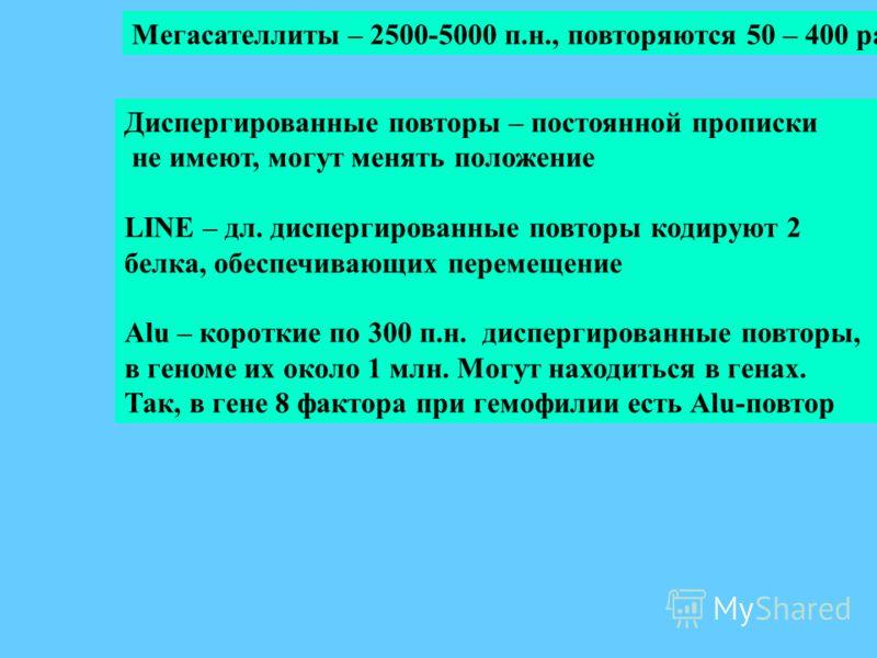Мегасателлиты – 2500-5000 п.н., повторяются 50 – 400 раз Диспергированные повторы – постоянной прописки не имеют, могут менять положение LINE – дл. диспергированные повторы кодируют 2 белка, обеспечивающих перемещение Alu – короткие по 300 п.н. диспе