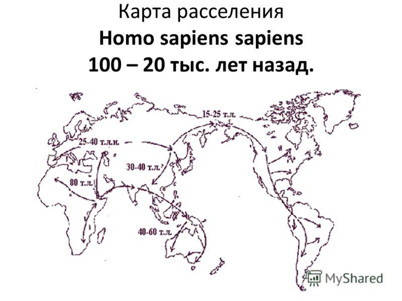 Карта расселения Homo sapiens sapiens 100 – 20 тыс. лет назад.