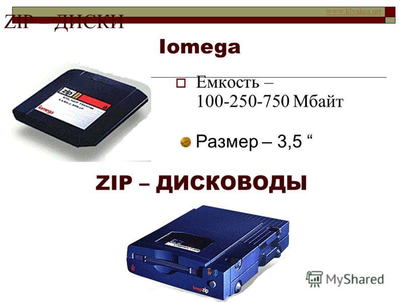 www.klyaksa.net FLOP – хлопать крыльями ФЛОППИ – ДИСК (ДИСКЕТА) Ёмкость – 1,44 Мбайт Размер – 3,5