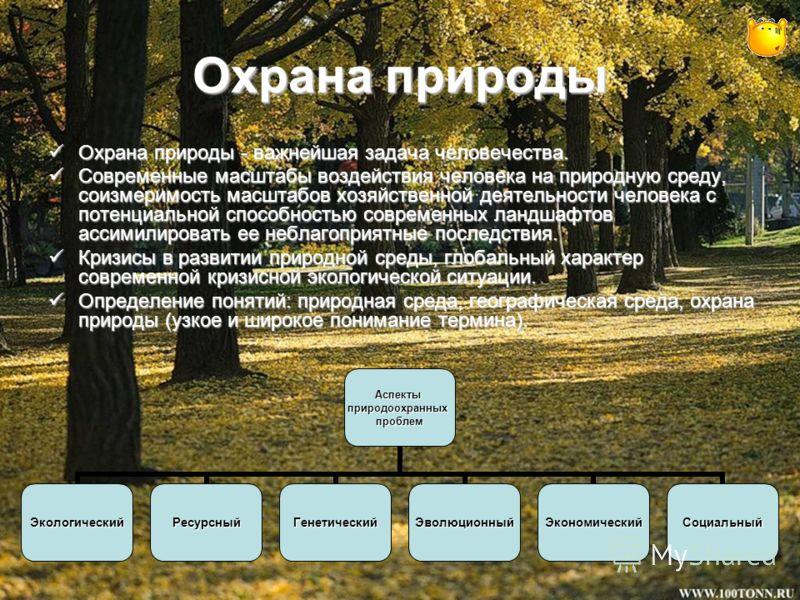 Охрана природы Охрана природы - важнейшая задача человечества. Охрана природы - важнейшая задача человечества. Современные масштабы воздействия человека на природную среду, соизмеримость масштабов хозяйственной деятельности человека с потенциальной с