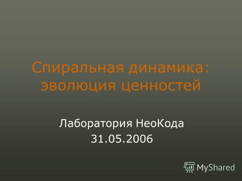 Спиральная динамика: эволюция ценностей Лаборатория НеоКода 31.05.2006